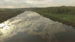 Flight over the calm river Stock Footage