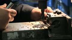 Industrial Iron drill in action Stock Footage