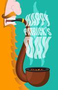Patricks Day. Leprechaun smokes pipe. Smoking set brier and Smoke, embers. Re Piirros