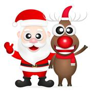 Santa claus and red nosed reindeer Stock Illustration