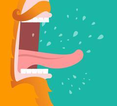 Leprechaun screams. Scary Gnome red beard shouts. Angry dwarf shout. grandfat Stock Illustration