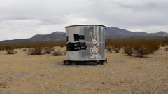 Abandon Water Tank in the Mojave Desert Stock Footage