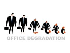 Office degradation. Manager turns into office plankton. Man transforms into s Stock Illustration