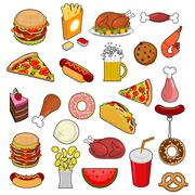 Fast Food big set. Signs of feed. Icon Collection of meat. Pizza and tacos. F Stock Illustration