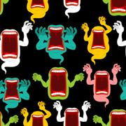 Ghost seamless pattern. Terrible howling wraith background. Monster scares or Stock Illustration