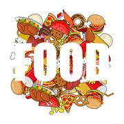 Food doodle. many feed. Pile sign of meat. Pizza and tacos. French fries and  Stock Illustration