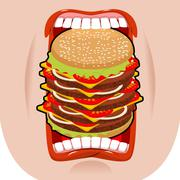Big hamburger mouth. Strong hunger. Great burger and open mouth. Breaking lip Stock Illustration