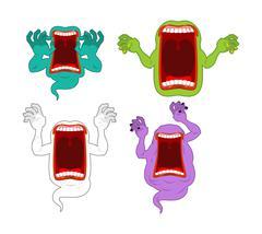 Scary ghost set. Mysterious phantom. Angry hungry spirit. Horrible wraith fri Stock Illustration