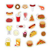 Food sticker set. Signs meat. feed Icon Collection. Pizza and tacos. French f Stock Illustration