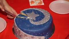 Cake decorated with star on children birthday party Stock Footage
