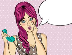Surprised  pop art woman with retro phone, who tells her secrets Stock Illustration