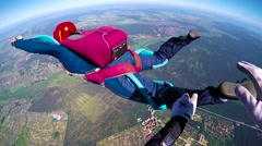 Skydiver spinning in free fall, editorial Stock Footage