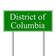 District of Columbia green road sign Stock Illustration