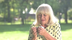 Elderly woman is crying. Stock Footage