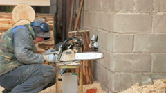 Work conducts prevention chainsaw. Man disassemble and clean the tool. moving Stock Footage