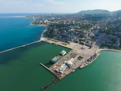 Top view of the marina and quay of Novorossiysk. Urban landscape of the port  Stock Photos