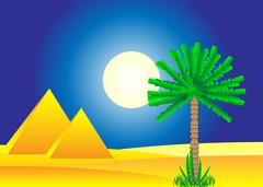 Sahara desert with egyptian pyramids by day Stock Illustration