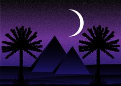 Sahara desert with egyptian pyramids at night Stock Illustration