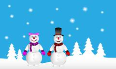 Winter landscape: forest, snowman and snow woman Stock Illustration