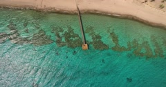 Tourists at a Coral beach Red Sea - from Extreme Long Shot to fulll shot  Stock Footage