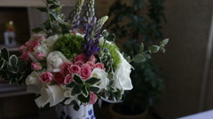 Bridal wedding bouquet decoration of colored flowers rose Stock Footage