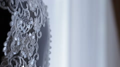 Detail on the wedding dress, wonderful dress for a bride, background Stock Footage