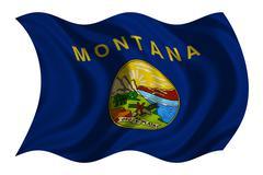 Flag of Montana wavy on white, fabric texture Kuvituskuvat