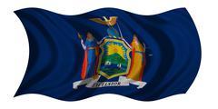 Flag of New York state waving on white, textured Stock Photos