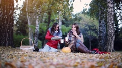 Young women sitting on picnic drinking hot tea from a thermos in autumn park Stock Footage