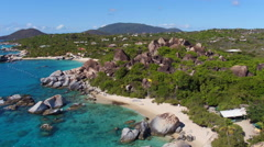 Aerial view of The Baths, Devil's Bay, Virgin Gorda Stock Footage