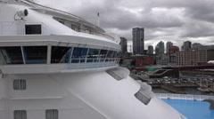 Close Cruise Ship Bridge Vancouver Canada Stock Footage
