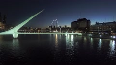 Puerto Madero harbor, Buenos Aires, at night, with restaurant buildings Stock Footage