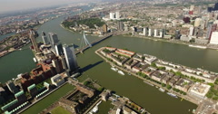 Rotterdam, The Netherlands in a helicopter aerial view Stock Footage