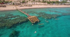 Tourists diving in a resort in Eilat, Israel Stock Footage