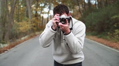 Taking Photos on Country Back Roads Stock Footage