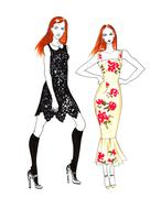 Fashion Sketch of Two Beautiful Girls Stock Illustration