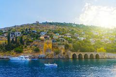 Landscape of ancient shipyard in Alanya Stock Photos