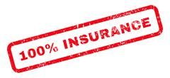 100 Percent Insurance Text Rubber Stamp Stock Illustration