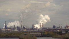 Air Pollution Smoke Steel Pipe Plant Stock Footage