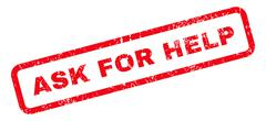 Ask For Help Text Rubber Stamp Stock Illustration