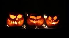 Halloween pumpkin lanterns with candles Stock Footage