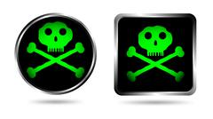 Two buttons with Jolly roger Stock Illustration