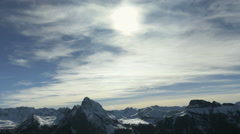 Glaciers and snow over mountain chain Stock Footage