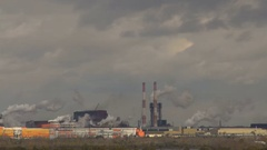 Large Factory Industry Smoke Emissions Stock Footage