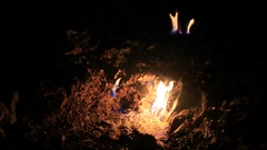 Night fire at the Chimaera mountain Stock Footage