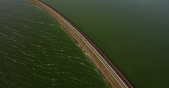 Dutch dikes with roads and cars Stock Footage