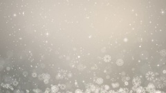 Gray Christmas Background. Winter Card with Snowflakes, Stars and Snow. Stock Footage