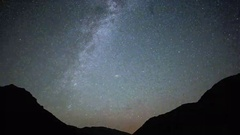 Star Trails Night Sky Cosmos Galaxy Time-lapse over plateau on Kackar Mountains Stock Footage