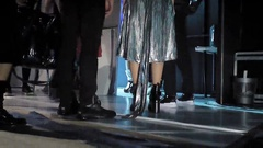 Models entering the catwalk from backstage Stock Footage