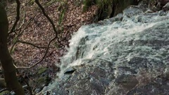 Looking down from top of Cleddon Falls waterfall with brown autumn leaves in Stock Footage